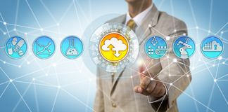 Business Manager Adopting Cloud First Strategy. Unrecognizable male pharmaceutical business manager adopting a cloud-first strategy. Industry concept for Stock Photography