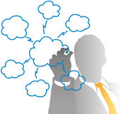 Business IT manager drawing cloud computing chart. From behind frosted glass Royalty Free Stock Image