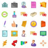 Business manager icons set, cartoon style. Business manager icons set. Cartoon set of 25 business manager vector icons for web isolated on white background Stock Image