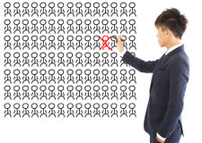 Business manager omit a wrong person Stock Photo