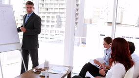 Business manager presenting ideas to his staff stock video footage