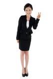 Business Manager robi zwycięstwo gestowi odizolowywającemu na białym tle Fotografia Royalty Free