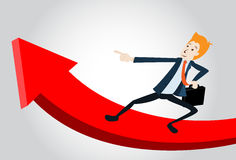 Business Manager Running Upwards On A Statistics A. Smiling Business Manager Running Upwards On A Statistics Arrow Royalty Free Stock Photo