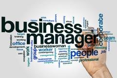 Business Manager słowa chmury pojęcie na popielatym tle Obraz Royalty Free