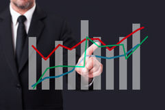 Business manager touching an oscillating financial chart on virt Royalty Free Stock Photos