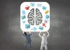 Business mans carrying the brain with the graphic about purchasings and sales royalty free illustration