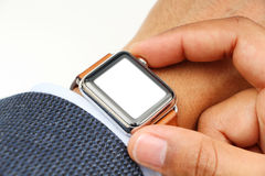 Business' mans hand with a smart watch and blank space for your logo Royalty Free Stock Photos
