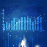 Business Market Stock Diagram. Abstract financial stock market diagram on blue background Royalty Free Stock Photo