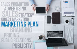 Business and marketing concepts on office desktop Royalty Free Stock Photo
