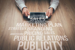 Business and marketing concepts on office desktop Royalty Free Stock Images