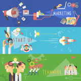 Business marketing flat banners set Stock Photo