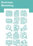 Turquoise Business Marketing icons set royalty free illustration