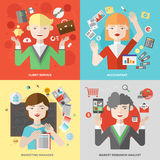 Business and marketing professions flat illustration royalty free illustration