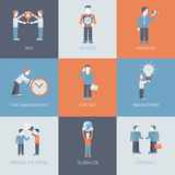 Business marketing promotion people and object situations flat. Business marketing promotion people and object situations concept flat icon set. Win, achieve Stock Illustration