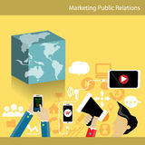 Business Marketing Public Relations. With wold map phone microphone Royalty Free Stock Photo