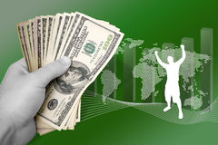 Business Marketing Success. A montage about profit in world business.  A successful man throws his arms up in achievement Stock Photos