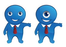 Business Mascot. Blue office monster isolated on white Royalty Free Stock Photo