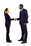Business mask handshaking Stock Images