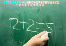 Business Math on Old School Green Chalkboard. Two plus Two equals Five royalty free stock images