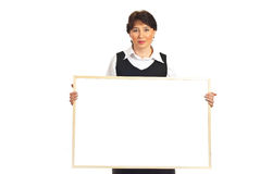 Business mature woman holding blank banner Stock Photography