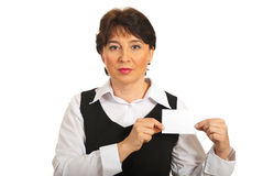 Business mature woman showing blank card Royalty Free Stock Image