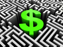 Business maze. Abstract 3d illustration of maze with dollar sign in center Royalty Free Stock Photography