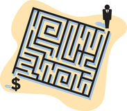 Business Maze. How do you make money? This illustration depicts how difficult it is to get to the money Royalty Free Stock Images