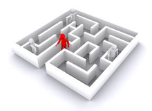 Business maze. Man who going out from business complications vector illustration