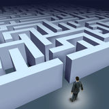 Business maze challenge. Business challenges represented by a business man facing a maze showing the concept of challenges ant starting a journey using strategy Stock Image