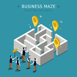Business maze. Concept 3d isometric flat design Royalty Free Stock Photo
