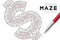 Business Maze or labyrinth Currency USD United States Dollars sign shape with drawing red stroke to exitl by pen and businessman. Design illustration isolated Stock Images