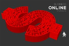 Business Maze or labyrinth Currency USD United States Dollars sign shape red color with businessman, 3D design illustration. Isolated on dark background, with Stock Photo
