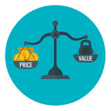 Business measurement of price and value with scale, pricing for profit vector concept Stock Photo