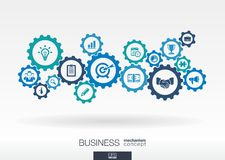 Business mechanism concept. Abstract background with connected gears and icons for strategy, digital marketing concepts Royalty Free Stock Photo