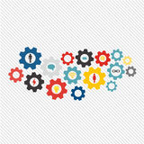 Business mechanism concept. Abstract background with connected gears and icons for strategy, service, analytics, research, seo, di Royalty Free Stock Image