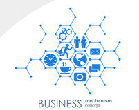 Business mechanism concept. Abstract background with connected gears and icons for strategy, service, analytics Royalty Free Stock Images