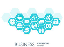 Business mechanism concept. Abstract background with connected gears and icons for strategy, service, analytics Stock Photos