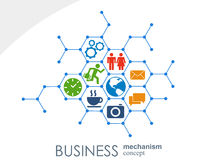 Business mechanism concept. Abstract background with connected gears and icons for strategy, service, analytics Royalty Free Stock Photo