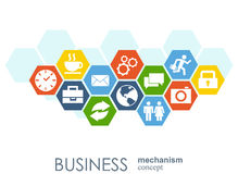Business mechanism concept. Abstract background with connected gears and icons for strategy, service, analytics Stock Photo