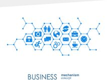 Business mechanism concept. Abstract background with connected gears and icons for strategy, service, analytics stock illustration