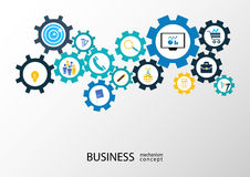 Business mechanism concept - Illustration. Abstract background with connected gears and startup icons for strategy, service, analytics, research, seo, digital Royalty Free Stock Image