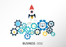 Business mechanism concept - Illustration. Abstract background with connected gears and startup icons for strategy, service, analytics, research, seo, digital Royalty Free Stock Photos