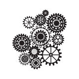 Business mechanism concept. Сonnected gears and icons for strategy, service. Stock Photos