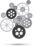 Business mechanism concept. Сonnected gears and icons for strategy, service. Royalty Free Stock Images
