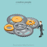 Business Mechanism man gear wheel Flat 3d isometri. Isometric Business Mechanism gear wheel concept. Flat 3d isometry style web site vector illustration Royalty Free Stock Photos