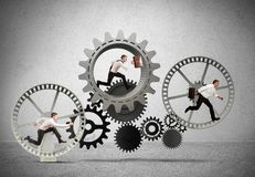 Business mechanism system. With running business team royalty free stock images