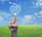 Business medical health care service concept. Heart beat pulse flat icon over green grass field with blue sky, Business medical health care service concept royalty free stock photo