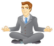 Business meditation. Businessman is meditating and relaxing in lotus pose. Business yoga. Vector illustration Royalty Free Stock Photo
