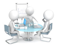Business meeting. 3D little human characters X3. Manager discussing work with his colleagues. People series Stock Photography