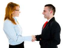 Business meeting. Businessman and businesswoman are meeting in office Stock Image